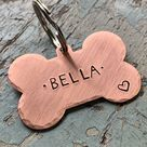 Bone Shaped Copper Dog Tag for Collar