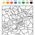 Ausmalbild Malen nach Zahlen: Drache ausmalen kostenlos ausdrucken