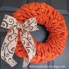 Orange Burlap Wreath