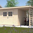WEKA Gartenhaus 179 A Gr. 1 28 mm naturbelassen - BxTxH: 430x311x224 cm, Sockelmaß Haus: BxT: 235x240 cm, inkl. Anbaudach 150 cm