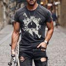 Mens Fashion Washed Poker Print T-shirt