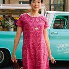 Women's Cotton T-Shirt Dress - Red / S
