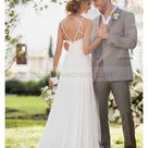Beaded Straps Ivory Pleated Chiffon Backless Wedding Dress With Sweep Train