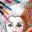 Coloring Book Page PDF   Zentangle Pattern Boho Girl Portrait Line Art