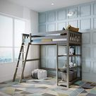 Amazon.com: Max & Lily Solid Wood Twin-Size High Loft Bed with Bookcase, White: Home & Kitchen
