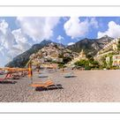 A2 Poster. Empty beach at Positano