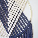 The Duo // Macramé Wall Hanging on Gold Hoop with Custom Color / Indigo Blue / Modern Dream Catcher