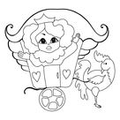 Coloring Picture - A Princess in a Beautiful Carriage