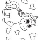 Unicorn and Hearts Coloring Page
