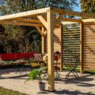 Pergola bioclimatique en bois de sapin 10,58 m² - Toiture + façade