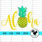Aloha Pineapple, Hawaiian Islands, Summer Vacation, Beach Vibes, Fruit SVG, Clipart, Print and Cut File Stencil, Silhouette, dxf, png, jpg