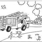 Kleurplaat van Snel, er staat een huis in brand!