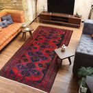 Rustic rug red rugs for living room 4'8 x   Etsy