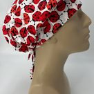 Nursing Cap Surgical Scrub Hat, Lady Bug, for Long Hair Ponytail, Gift for Surgeon, Nurse, Doctor, Veterinarian, Chef Hat, Red, White, Black