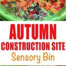 Autumn Construction Site Sensory Bin - HAPPY TODDLER PLAYTIME