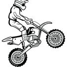 Coloriage Moto-cross et petit saut