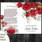 Funeral Program Template | Memorial Program | Funeral Folder | Editable MS Word | Red Roses