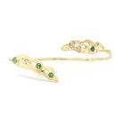 Green Goddess Cuff Bracelet - White Gold