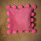 Hot Pink Pillow Cover with Pom Poms Pink Pom Pom Pillow Case | Etsy