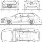 Audi S6 C6 Typ 4F Avant blueprints, vector drawings, clipart and pdf templates