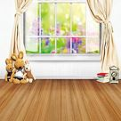 Window Spring Flower Curtain Room Backdrop for Photo S-3090 - 5'W*7'H(1.5*2.2m)