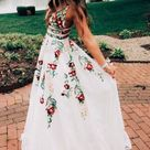 A line Lace White Lace Prom Dresses, V Neck Evening Dresses with Pockets, Long Prom Dresses AD35 from Adeledresses
