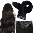 Up to 70% Off Full Shine PU Clip in Extensions 100% Remy Human Hair 8 Pieces Pure Color (#1B)  (Only for US Address) - 22\ 100g / #1B