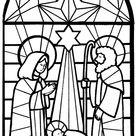 Kleurplaat kerst - Kerkraam Jezus in een voederbak met Maria en Jozef