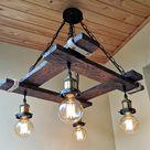 Rustic Light Fixture   Hanging Light   Rustic Lighting   Industrial Pendant Light   Wood Chandelier   Rustic Light   Farmhouse Light  Dining
