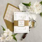 Art Deco wedding invitation, Gold wedding invitation, Elegant wedding invitation set, Regal wedding invitation with an ornate design