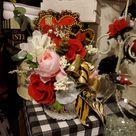 Valentine's Gifts, Valentine's Floral Arrangement, Flower Arrangement, Faux Flowers in Vase, Silk Floral Arrangement, Artificial Flowers,