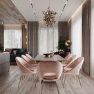 großer Esstisch   Stühle aus rosa Samt   luxuriöser Essbereich