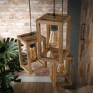 Houten hanglamp driedelig   Santa Fira