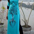 Buy Blue Cotton Handpainted Straight Kurti - Online shopping Kurtis   Colorauction