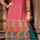 Pink Net Flared Churidar Kameez