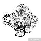 Sticker Luipaard in zwarte interpretatie • Pixers® - We leven om te veranderen
