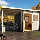 KARIBU Gartenhaus SPARSET Glücksburg 4 ECO 19 mm terragrau, inkl. Anbaudach 1,9 m - BxTxH: 439x236x220 cm, Sockelmaß Haus: BxT: 238x213 cm, inkl....