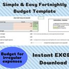 Fortnightly budget template, Excel budget template, Personal finance, Household budgeting, Savings tracker excel, Spending tracker excel