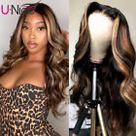 13X4 Lace Front Human Hair Wig Highlight Body Wave Bob Brazilian Remy Short Wavy    eBay