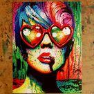 Signed Art Print Punk Rock Pop Art Rainbow Splatter Portrait - Electric Wasteland by Carissa Rose - 5x7, 8x10, or Apprx 11x14