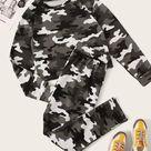 Women Plus Camo Print Round Neck Sweatshirt & Sweatpants Set   3XL