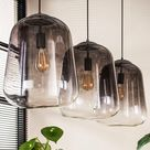 3-lichts hanglamp verchroomd glas   Glazen Hanglamp Eettafel