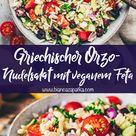 Griechischer Orzo Salat Veganer Nudelsalat