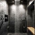 Moderne Dusche Schieferboden/Steinfliesen