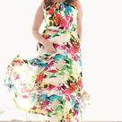 Eliza J Belted Floral Print Chiffon Maxi Dress (Plus Size)