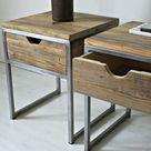 Industrielle Nachttisch, Holz und Stahl Nachttisch: rustikale zurückgefordert Scheune Holz, rustikale und industrielle zurückgefordert Scheune Holzmöbel