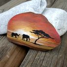 African dream, Africa paintend rock stone, African Savannah rock stone, Painted stone rock elephants, Home decoration rock stone