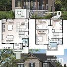 Sparsamer, moderner, rustikaler 2-stöckiger Wohnplan, offenes Konzept, große Kücheninsel, 3 S...