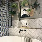 "House Beautiful UK on Instagram: ""We love @at_lucys_house's bathroom - statement tiles, hanging plants & good lighting! . . . . #regram #repost #bathroomdecor…"""