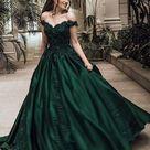2022 Classic Satin Dark Green Off Shoulder Sweetheart Ball Gown Prom Dress   Dark Green / US6